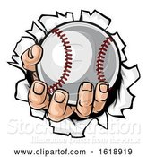 Vector Illustration of Cartoon Baseball Ball Hand Tearing Background by AtStockIllustration