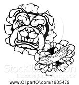 Vector Illustration of Cartoon Black and White Bulldog Holding a Video Game Controller and Breaking Through a Wall by AtStockIllustration