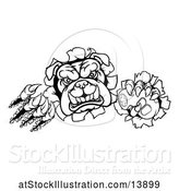 Vector Illustration of Cartoon Black and White Bulldog Mascot Holding a Video Game Controller and Breaking Through a Wall by AtStockIllustration