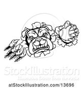 Vector Illustration of Cartoon Black and White Bulldog Monster Shredding Through a Wall with a Baseball in One Hand by AtStockIllustration