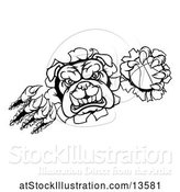 Vector Illustration of Cartoon Black and White Bulldog Monster Shredding Through a Wall with a Basketball in One Hand by AtStockIllustration