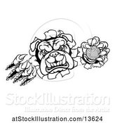 Vector Illustration of Cartoon Black and White Bulldog Monster Shredding Through a Wall with a Golf Ball in One Hand by AtStockIllustration