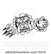 Vector Illustration of Cartoon Black and White Bulldog Monster Shredding Through a Wall with a Soccer Ball in One Hand by AtStockIllustration
