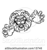 Vector Illustration of Cartoon Black and White Charging Male Lion Monster Holding a Football by AtStockIllustration