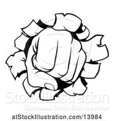 Vector Illustration of Cartoon Black and White Fisted Hand Punching a Hole Through a Wall by AtStockIllustration