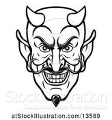 Vector Illustration of Cartoon Black and White Grinning Evil Devil Face by AtStockIllustration