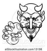 Vector Illustration of Cartoon Black and White Grinning Evil Devil Holding a Video Game Controller by AtStockIllustration