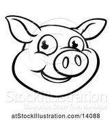 Vector Illustration of Cartoon Black and White Happy Pig Face by AtStockIllustration