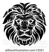 Vector Illustration of Cartoon Black and White Male Lion Head by AtStockIllustration