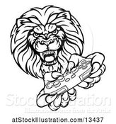 Vector Illustration of Cartoon Black and White Male Lion Holding a Video Game Controller by AtStockIllustration