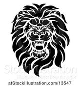 Vector Illustration of Cartoon Black and White Roaring Male Lion Head by AtStockIllustration