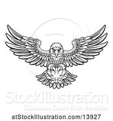 Vector Illustration of Cartoon Black and White Swooping American Bald Eagle with a Cricket Ball in His Talons by AtStockIllustration