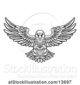 Vector Illustration of Cartoon Black and White Swooping American Bald Eagle with a Golf Ball in His Talons by AtStockIllustration