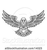 Vector Illustration of Cartoon Black and White Swooping American Bald Eagle with a Tennis Ball in His Talons by AtStockIllustration