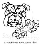 Vector Illustration of Cartoon Black and White Tough Bulldog Mascot Holding a Video Game Controller by AtStockIllustration