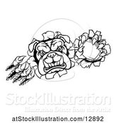 Vector Illustration of Cartoon Black and White Tough Bulldog Monster Sports Mascot Holding out a Basketball in One Clawed Paw and Breaking Through a Wall by AtStockIllustration