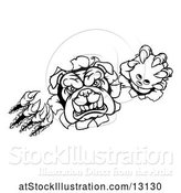 Vector Illustration of Cartoon Black and White Tough Bulldog Monster Sports Mascot Holding out a Bowling Ball in One Clawed Paw and Breaking Through a Wall by AtStockIllustration