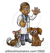 Vector Illustration of Cartoon Black Male Veterinarian Giving a Thumb up and Waving, Standing with a Dog and Cat by AtStockIllustration