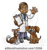Vector Illustration of Cartoon Black Male Veterinarian Waving and Holding a Clipboard, Standing with a Dog and Cat by AtStockIllustration