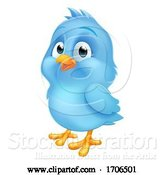 Vector Illustration of Cartoon Blue Bluebird Baby Bird Mascot by AtStockIllustration