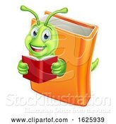 Vector Illustration of Cartoon Bookworm Caterpillar Worm in Book Reading by AtStockIllustration