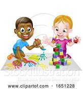 Vector Illustration of Cartoon Boy and Girl Playing with Paints and Blocks by AtStockIllustration