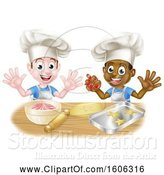 Vector Illustration of Cartoon Boys Making Frosting and Cookies by AtStockIllustration