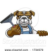 Vector Illustration of Cartoon Bulldog Car or Window Cleaner Holding Squeegee by AtStockIllustration