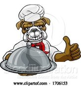 Vector Illustration of Cartoon Bulldog Chef Mascot Sign Cartoon by AtStockIllustration