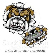Vector Illustration of Cartoon Bulldog Holding a Video Game Controller and Breaking Through a Wall by AtStockIllustration