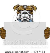 Vector Illustration of Cartoon Bulldog Mascot Handyman Holding Sign by AtStockIllustration