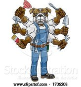 Vector Illustration of Cartoon Bulldog Multitasking Handyman Holding Tools by AtStockIllustration