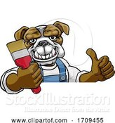Vector Illustration of Cartoon Bulldog Painter Decorator Holding Paintbrush by AtStockIllustration