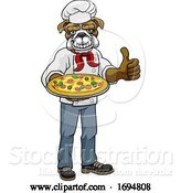 Vector Illustration of Cartoon Bulldog Pizza Chef Restaurant Mascot by AtStockIllustration
