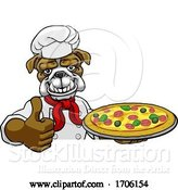 Vector Illustration of Cartoon Bulldog Pizza Chef Restaurant Mascot Sign by AtStockIllustration