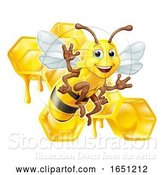 Vector Illustration of Cartoon Bumble Bee Honey Comb Bumblebee Hive Cartoon by AtStockIllustration