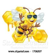 Vector Illustration of Cartoon Bumble Bee Honey Honeycomb Sunglasses Bumblebee by AtStockIllustration