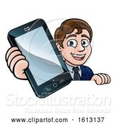 Vector Illustration of Cartoon Business Man Phone Concept by AtStockIllustration