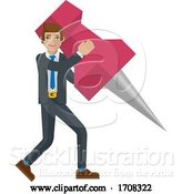 Vector Illustration of Cartoon Businessman Holding Thumb Tack Pin Mascot Concept by AtStockIllustration