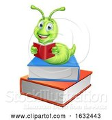 Vector Illustration of Cartoon Caterpillar Bookworm Worm on Books Reading by AtStockIllustration