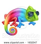 Vector Illustration of Cartoon Chameleon Cool Character in Shades Mascot by AtStockIllustration