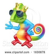 Vector Illustration of Cartoon Chameleon Cool King Lizard Character by AtStockIllustration