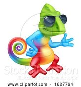 Vector Illustration of Cartoon Chameleon Cool Lizard Character Sunglasses by AtStockIllustration