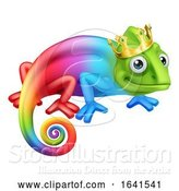 Vector Illustration of Cartoon Chameleon King Crown Lizard Character by AtStockIllustration