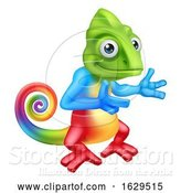 Vector Illustration of Cartoon Chameleon Lizard Character Pointing by AtStockIllustration