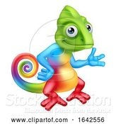 Vector Illustration of Cartoon Chameleon Lizard Character Standing by AtStockIllustration