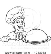 Vector Illustration of Cartoon Chef Cook Baker Guy Holding Domed Tray by AtStockIllustration
