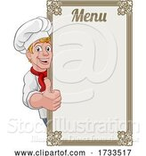 Vector Illustration of Cartoon Chef Cook Baker Guy Menu Sign Background by AtStockIllustration