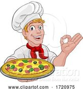 Vector Illustration of Cartoon Chef Cook Guy Holding a Pizza by AtStockIllustration