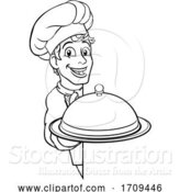 Vector Illustration of Cartoon Chef Holding Plate Platter Sign Cartoon by AtStockIllustration